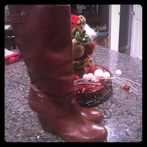Guess Leather Wedge Boots